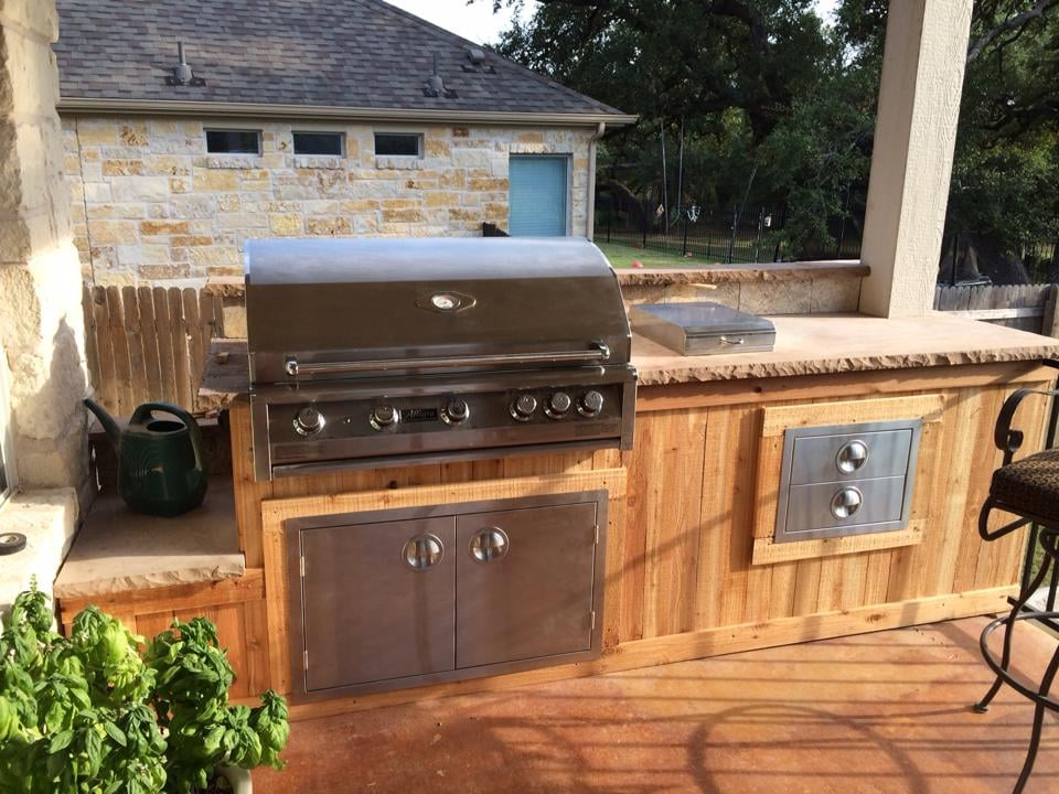 Outdoor kitchen cedar facing yelp for Cedar outdoor kitchen cabinets