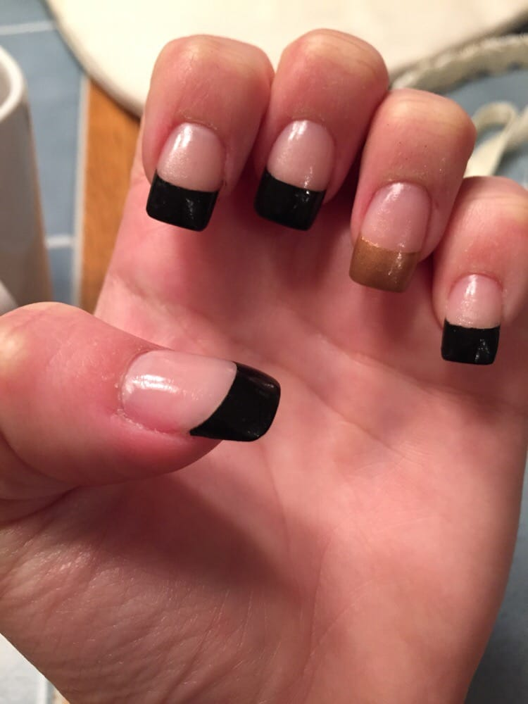 Full acrylic set with French tips in black with a gold accent nail ...