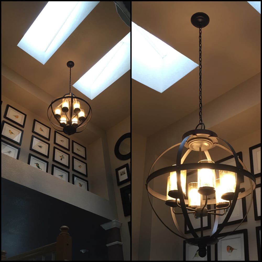 Light Fixtures Denver: Special Order Hanging Light Installation. Very High