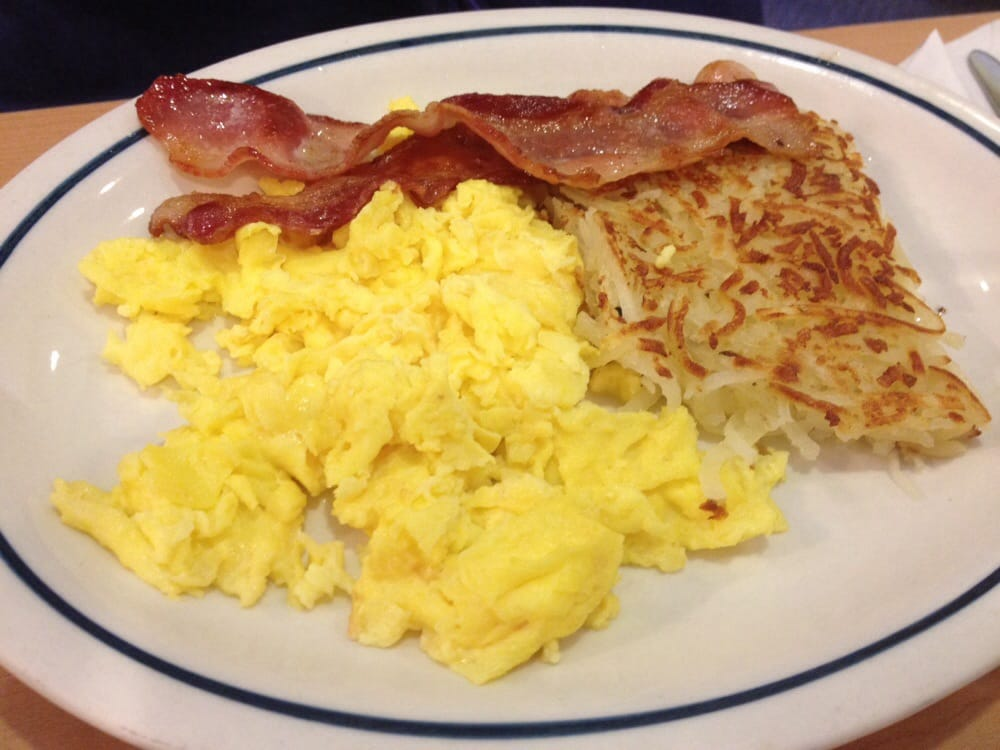 Hash browns, scrambled eggs, and bacon - Yelp