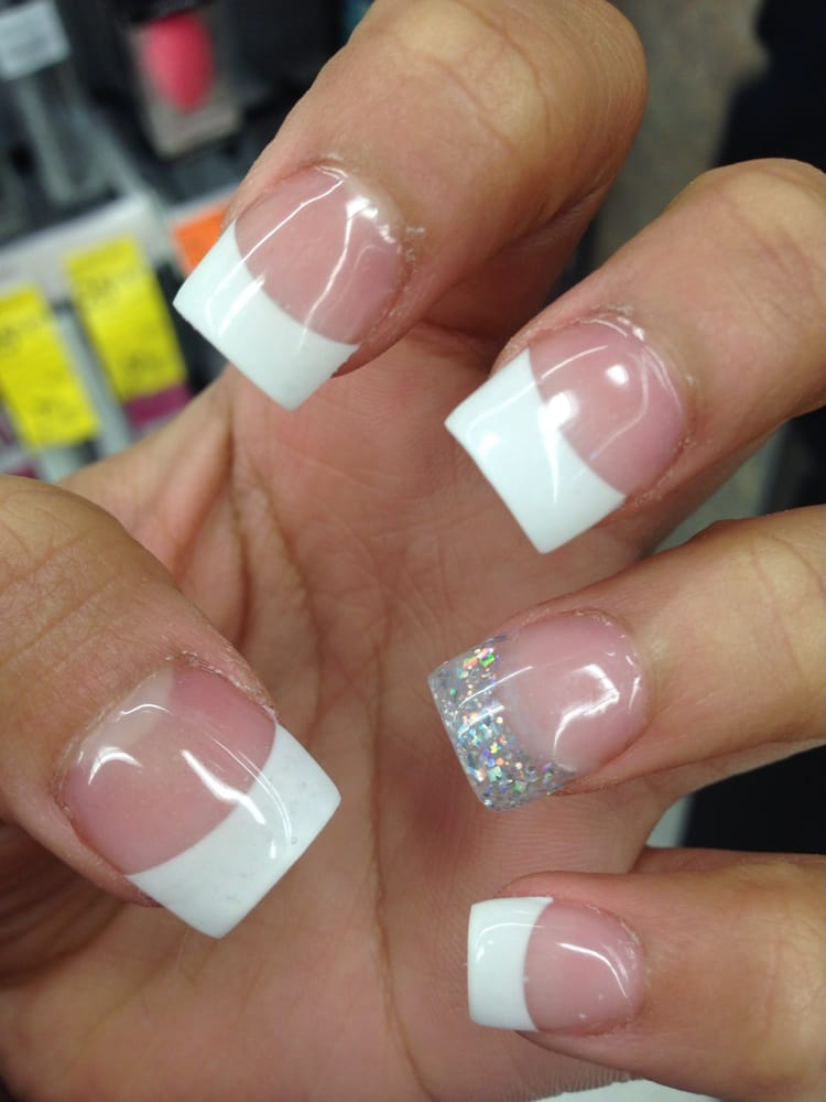Gallery For > White Glitter Tip Nails