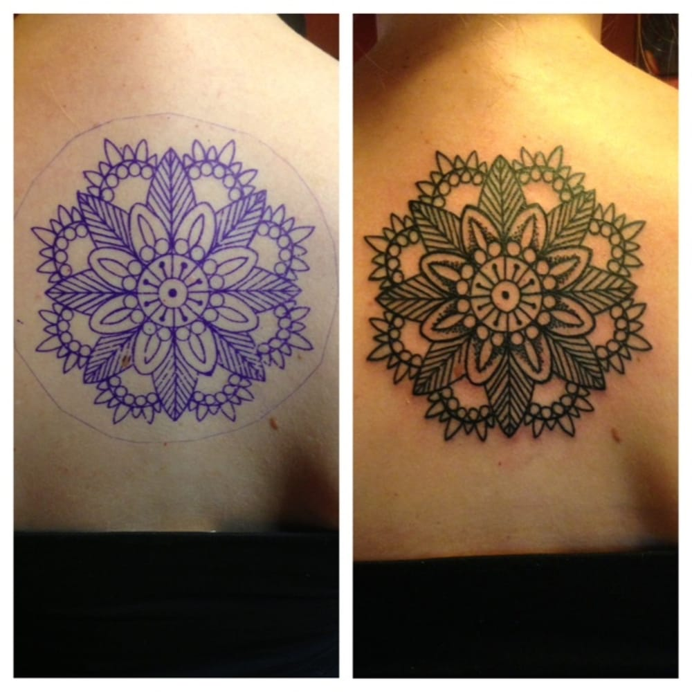 Shoulder mandala tattoo by dave yelp for Iron lotus tattoo