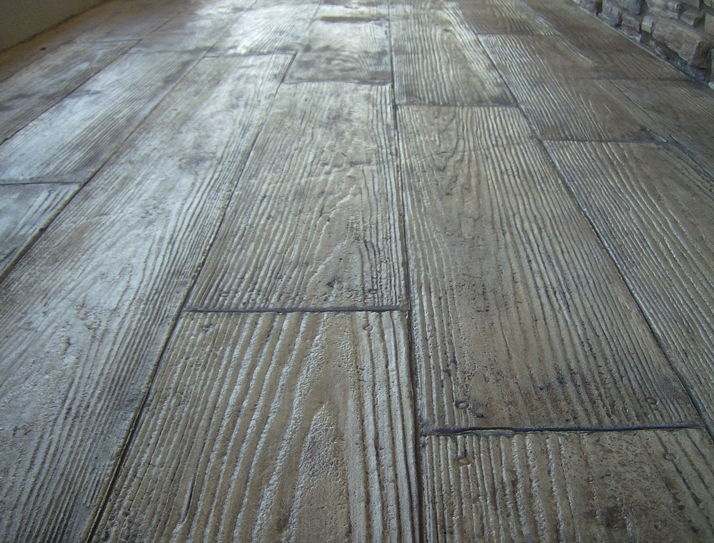 Wood Plank Stamped Concrete Floors : Stamped overlay wood plank yelp