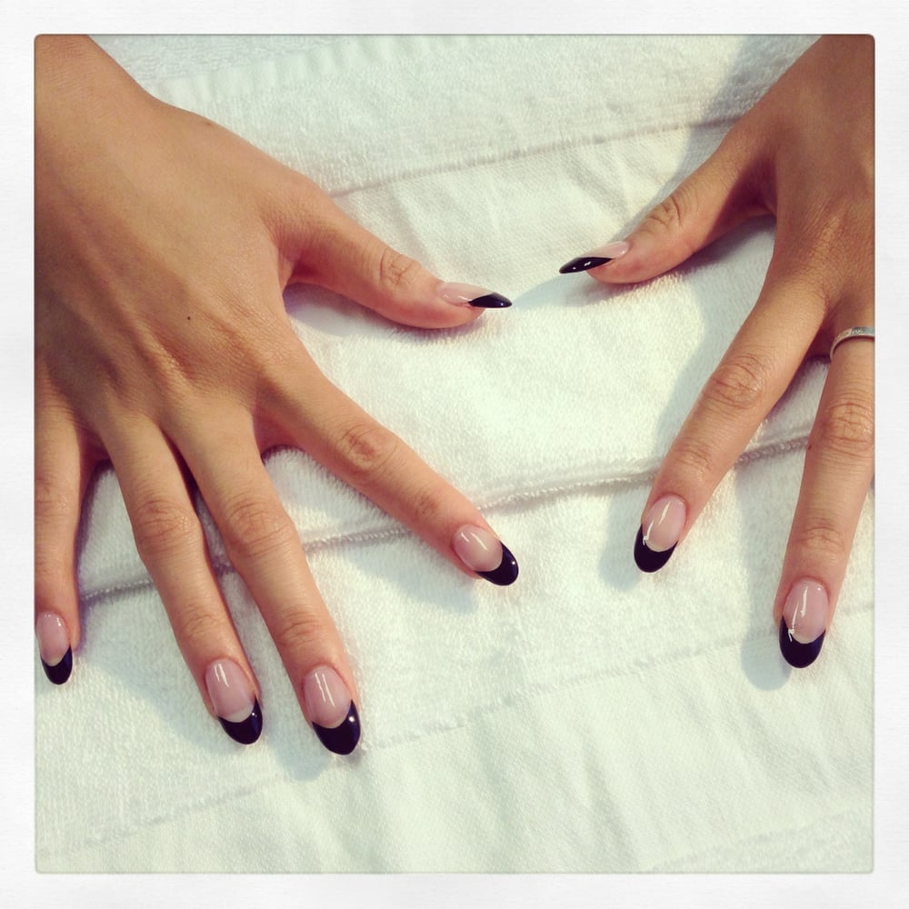 Black French acrylic nails. - Yelp