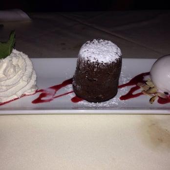 ... Fondant au Chocolate Noir- dark lava chocolate cake & coconut sherbet