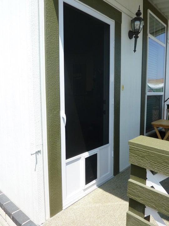 Swinging Screen Door W Dog Door Yelp