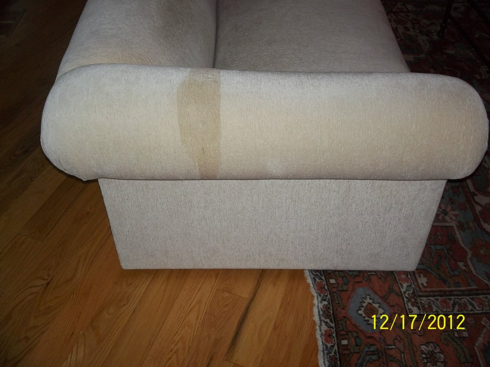 Before Water Stain On Arm Of Chenille Sofa Yelp
