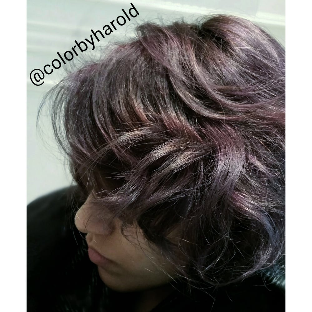 Metallic Lavender Glossing On Top Of Pale Highlighted Hair By Nyc