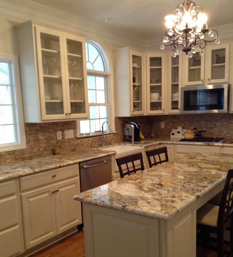 West End Richmond Remodel Silk Maple Cabinets With Glass Granite