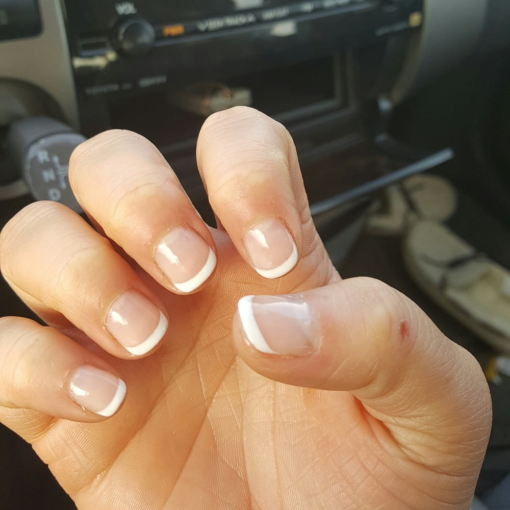 Had her do a manicure with clear Gel polish and french tips on my ...