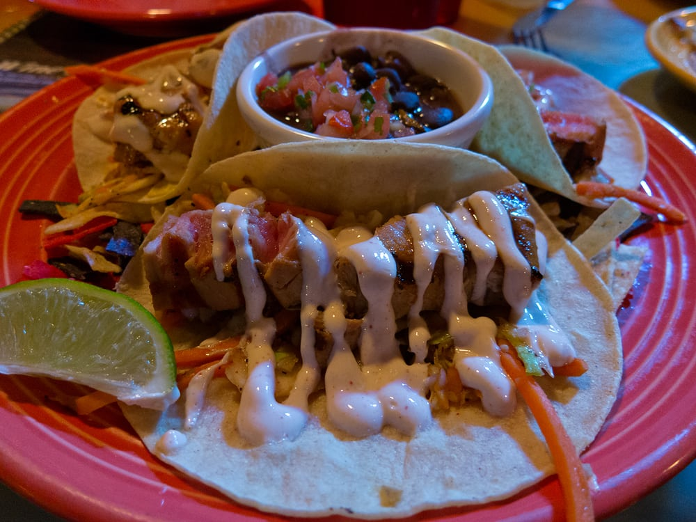 Fish tacos california style with a tropical twist a grills original i picked tuna on this - Grills seafood deck tiki bar ...