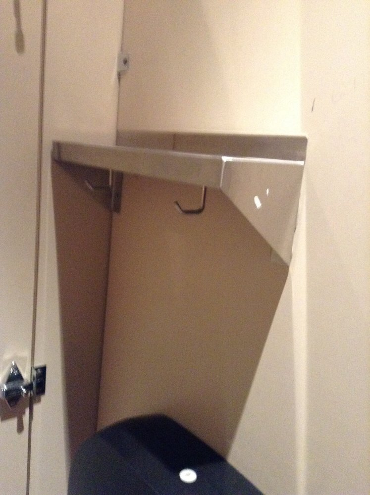 Mini shelf in ladies bathroom stall yelp - Bathroom partition installers near me ...