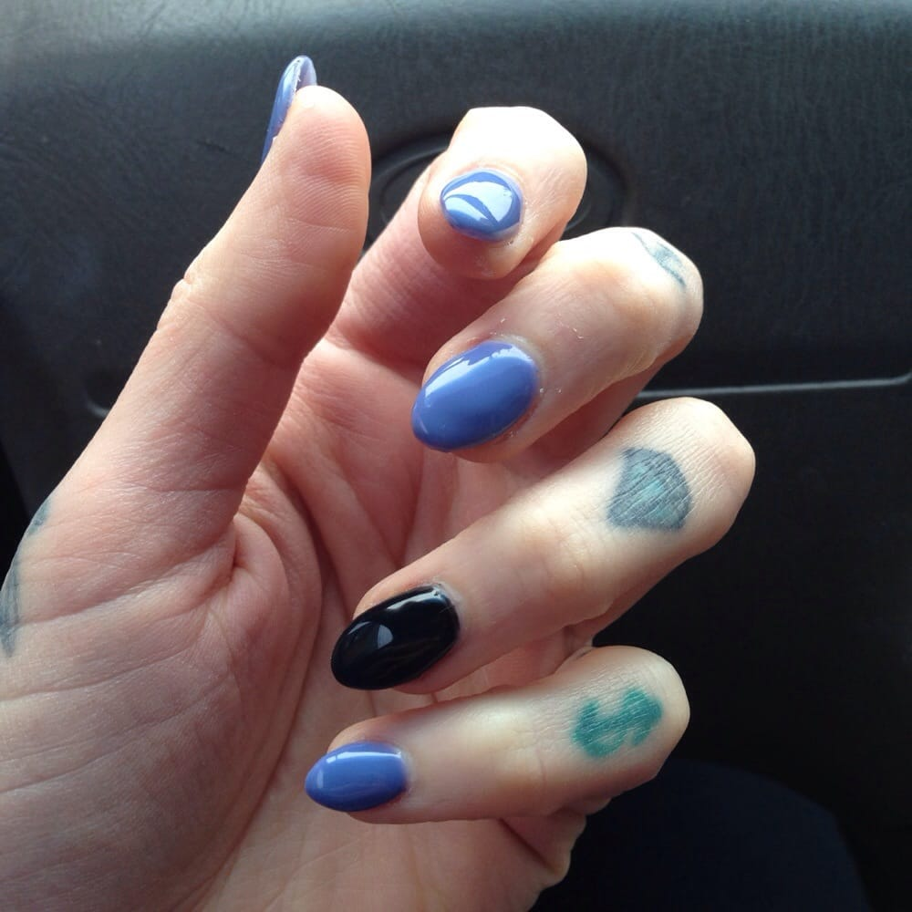 Almond Shaped Acrylic And Shellack Nails By Lily Yelp
