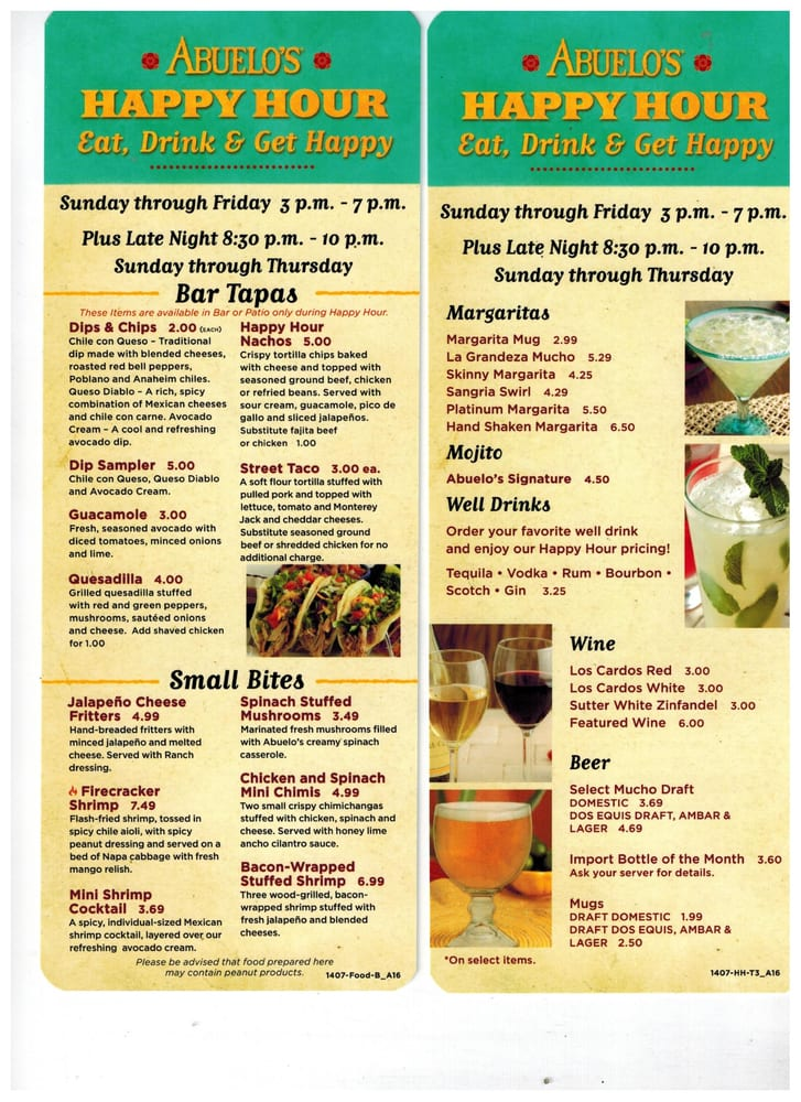 Abuelo S Happy Hour Specials Times