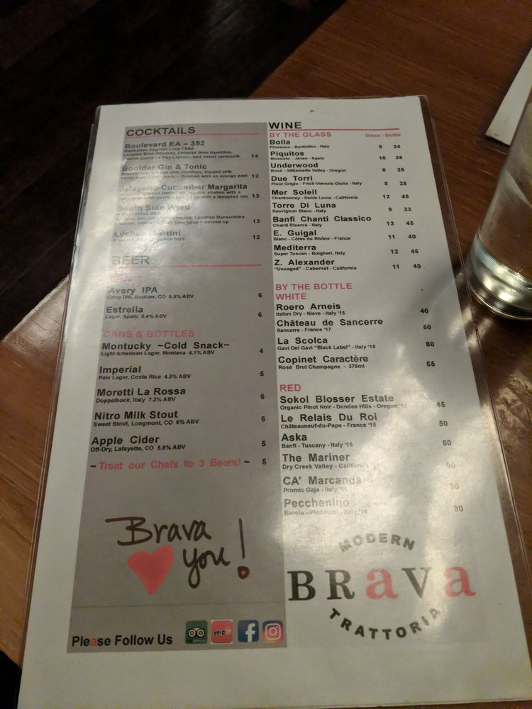 Brava Modern Trattoria: 809 Grand Ave, Glenwood Springs, CO