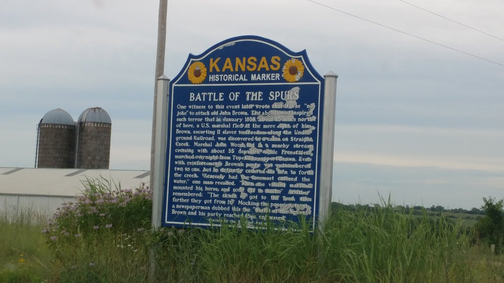 Battle of the Spurs Historical Marker: US-75 & 286th Rd, Liberty, KS