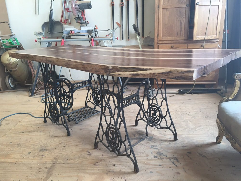 Custom Live Edge Dining Table With Sewing Machine Legs Yelp Mesmerizing Custom Sewing Machine Table