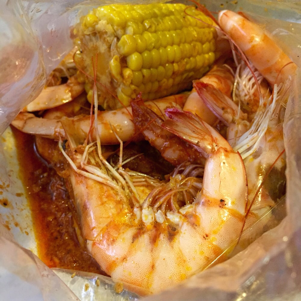 Shrimp, corn and cannonball sauce - Yelp