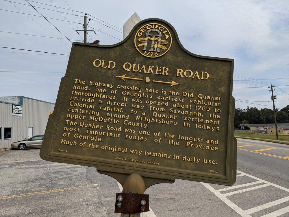 Old Quaker Road Historic Marker: 710 GA-4, Wrens, GA