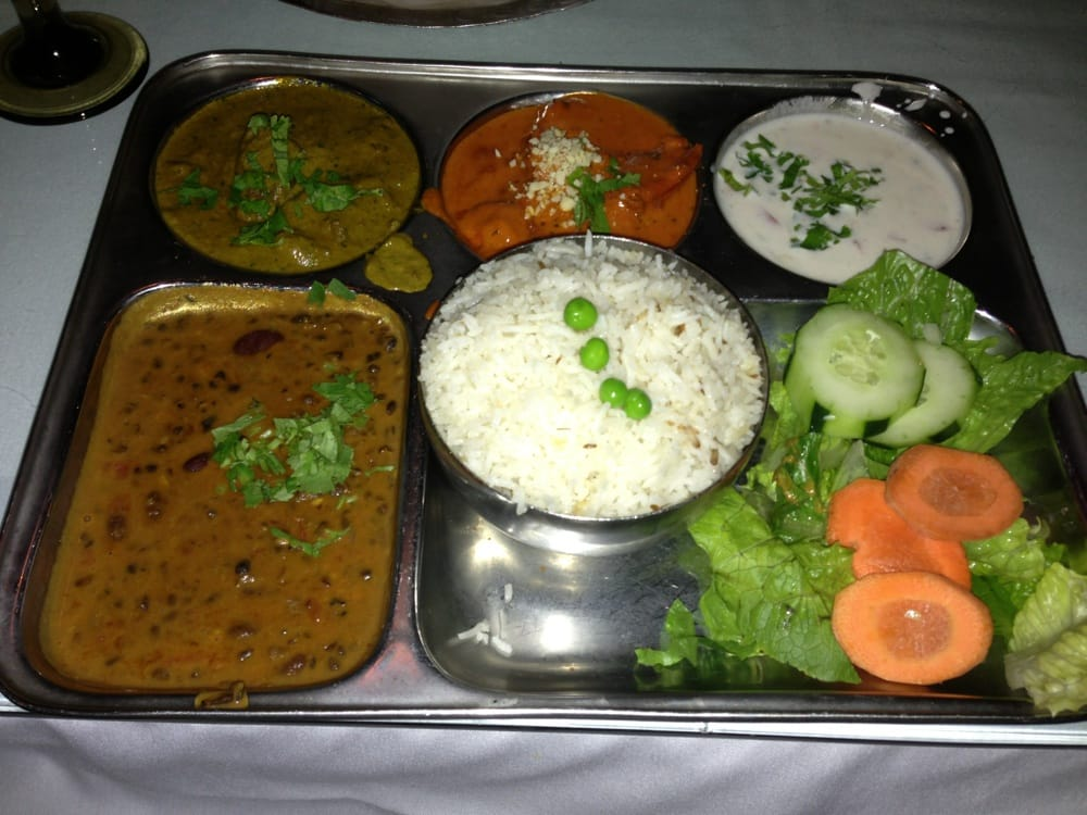 Non veg thali lamb curry butter chicken dal makhani for Angeethi indian cuisine