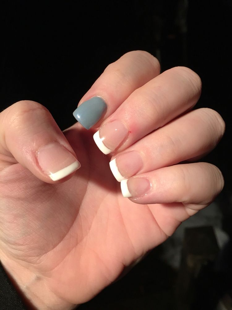 First time: Gel powder dip, full set French Second time: refill ...