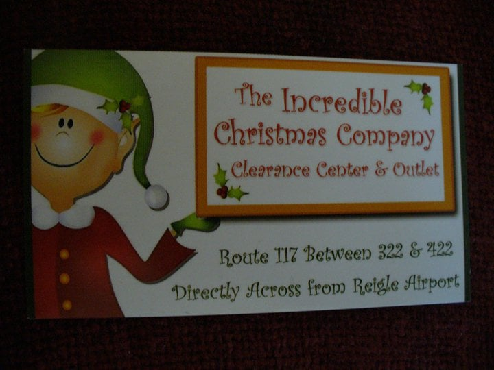 The Incredible Christmas Company Clearance Center & Outlet: 1800 S Forge Rd, Palmyra, PA