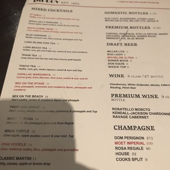 up comedy club menu