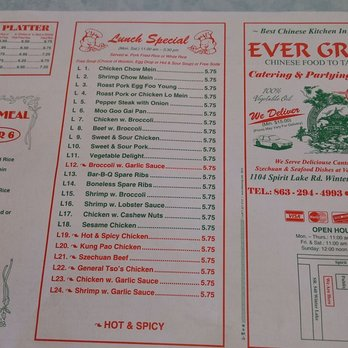 Photo Of Evergreen Winter Haven Fl United States Lunch Menu