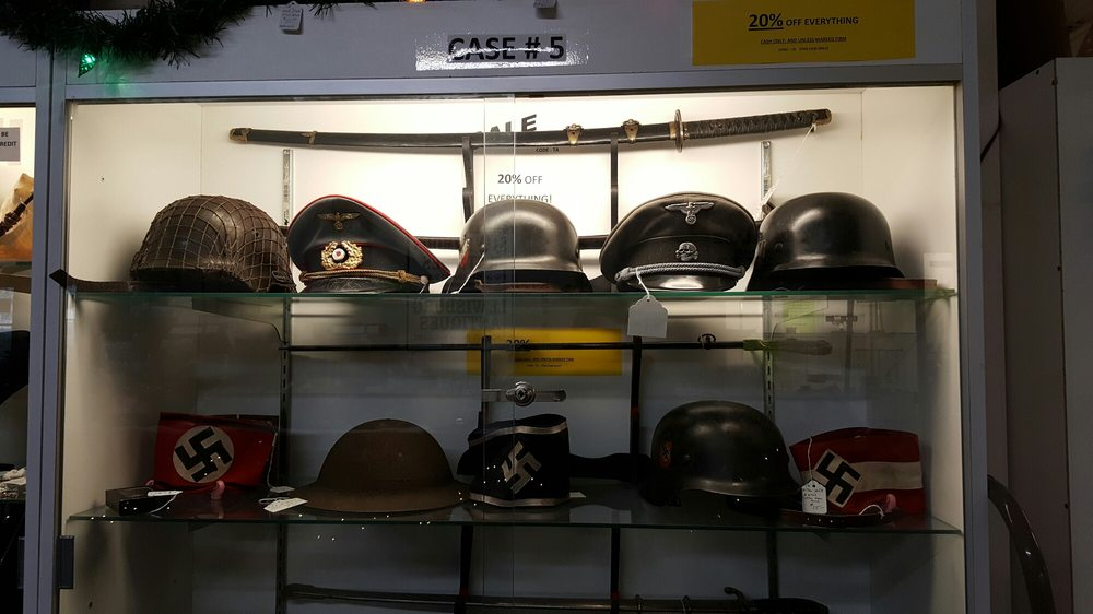 Nazi items near the entrance of the store, on display and
