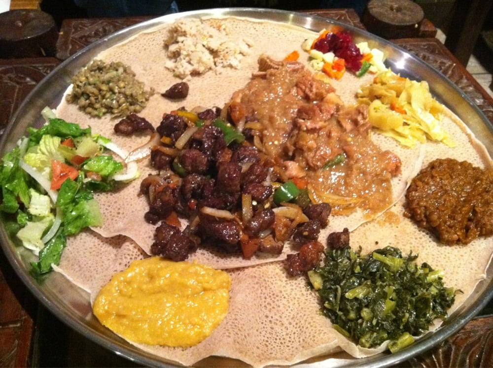 Veggie sampler with derek tibs and lamb yelp for Abyssinia ethiopian cuisine