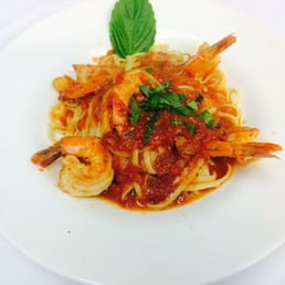 Bellissimo - Montvale, NJ, United States. Shrimp Marinara over Linguine