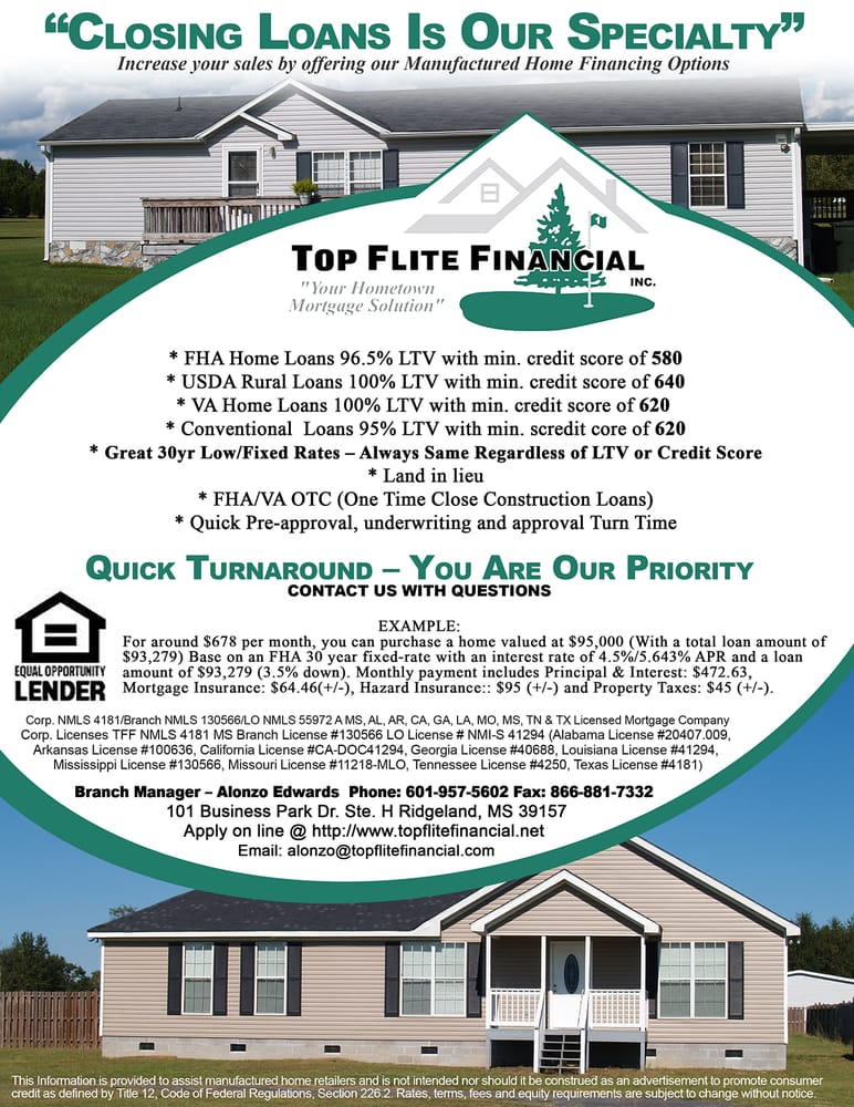 Top flite financial mortgage brokers 101 business park for Land home mortgage