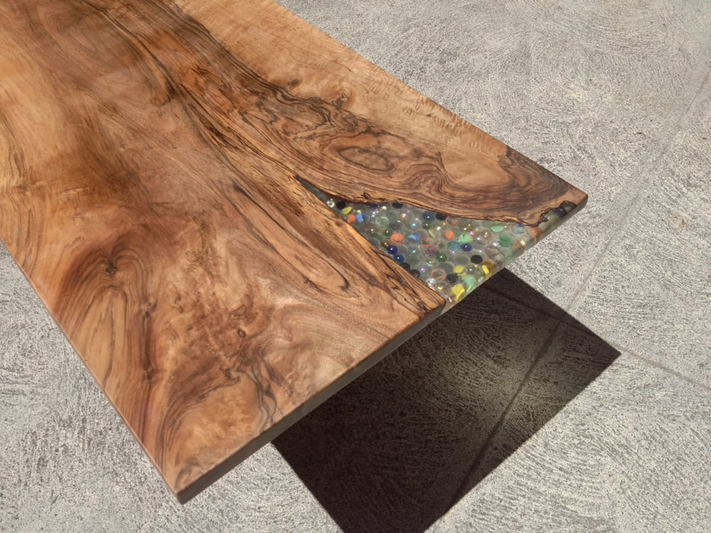 Solid Slab Walnut Coffee Table With Clear Resin And Marble
