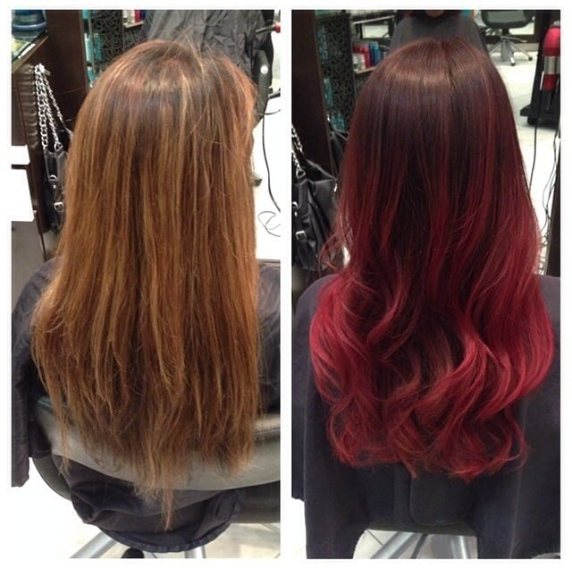 Before And After Burgundy Red Ombr 233 By Master Stylist