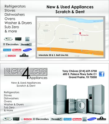 new4less Appliances 605 E Palace Pkwy, STE C1 Grand Prairie, TX