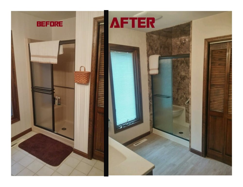 Total Bath Transformations Fiberglass tub to floor to ceiling ...