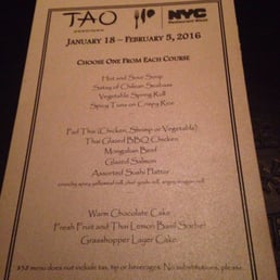 Tao Downtown Restaurant Week Menu