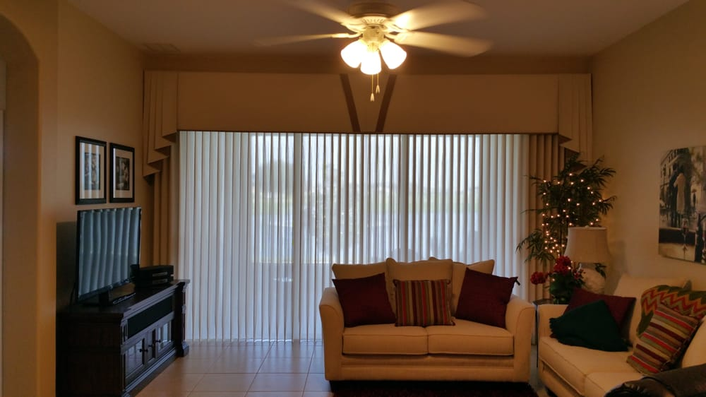 Vertical blinds idea for slider in your living room yelp for Living room vertical blinds