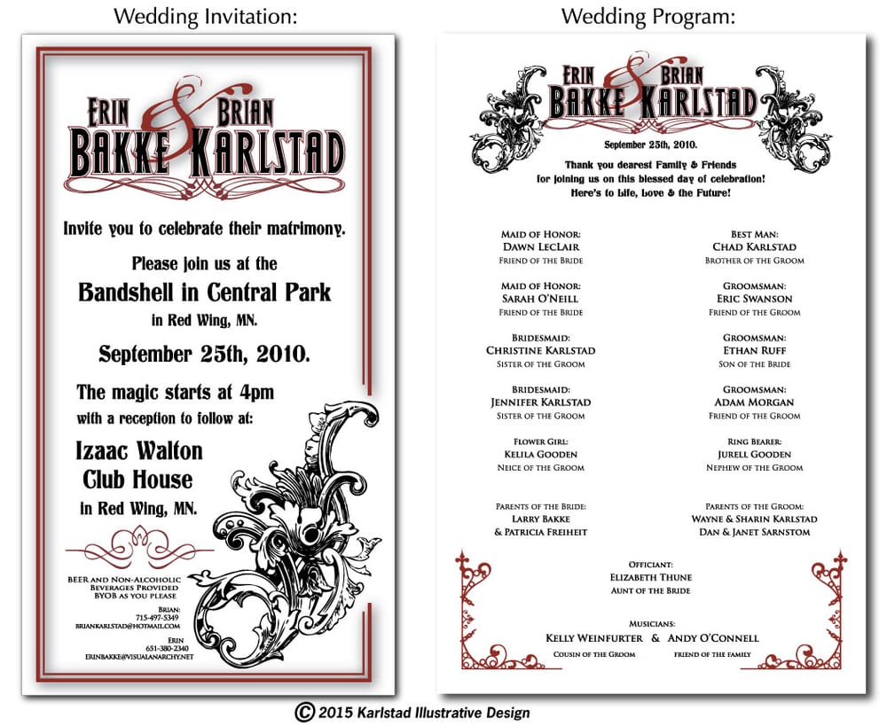 Wedding invitation and program layout design yelp photo of karlstad illustrative design red wing mn united states wedding invitation stopboris Image collections