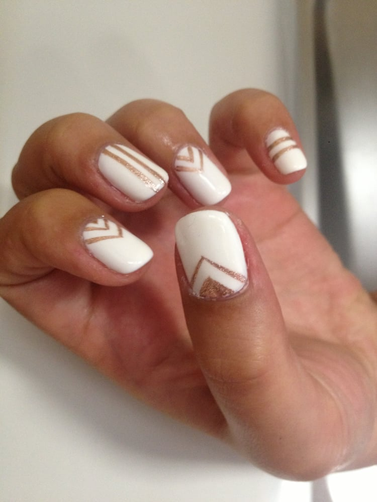Sheik White Gelish With Rose Gold Chevron And Stripes Nail Art Yelp