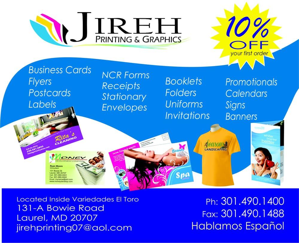 Jireh Printing & Graphics LLC - Printing Services - 131 Bowie Rd ...