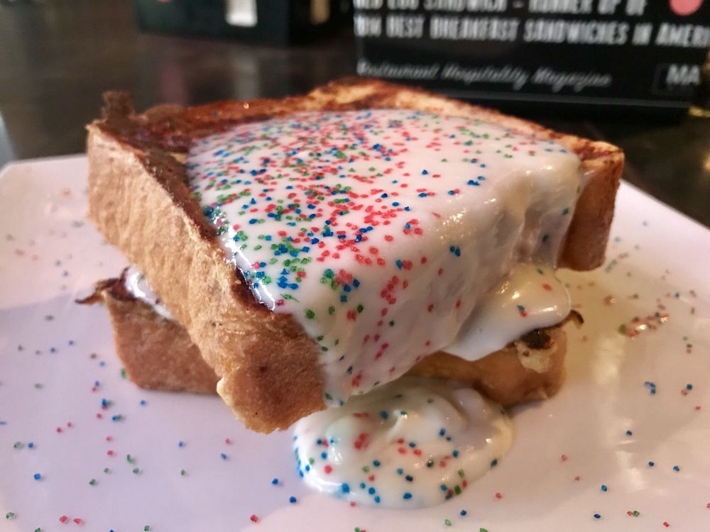 Mardi Gras French Toast But With Birthday Cake Pancake Sprinkles