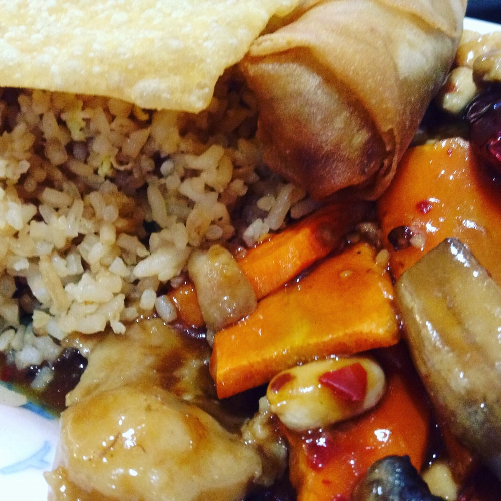Kung pao chicken with egg fried rice, egg roll, fries wonton and egg ...