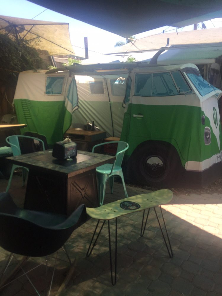 Photo of Wow Wow Waffle - San Diego CA United States. Fun seating & Fun seating areau0027s under VW Bus tents with tables AND books! - Yelp
