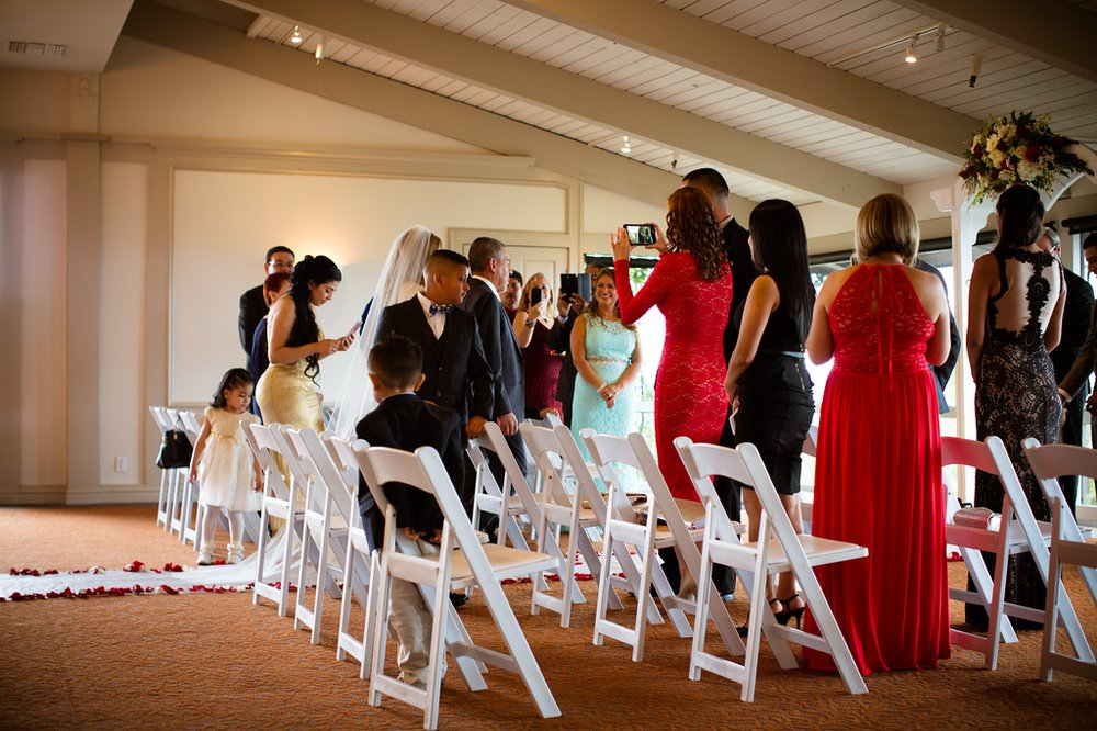 Three Jaw Dropping Indoor Banff Wedding Ceremonies: Indoor Ceremony, Ugly White Folding Chairs