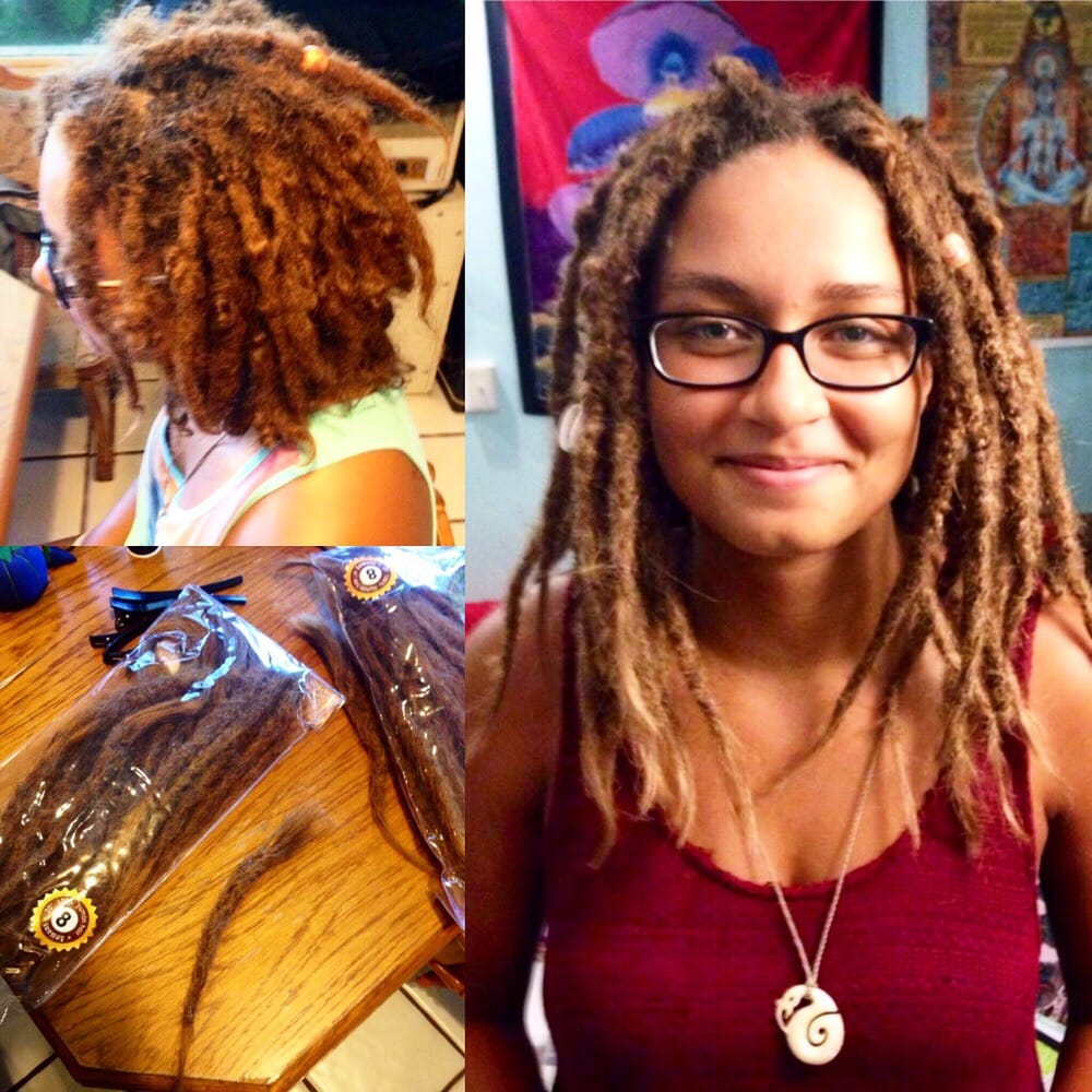 Top Left Before Dread Extensions Bottom Left Human Hair