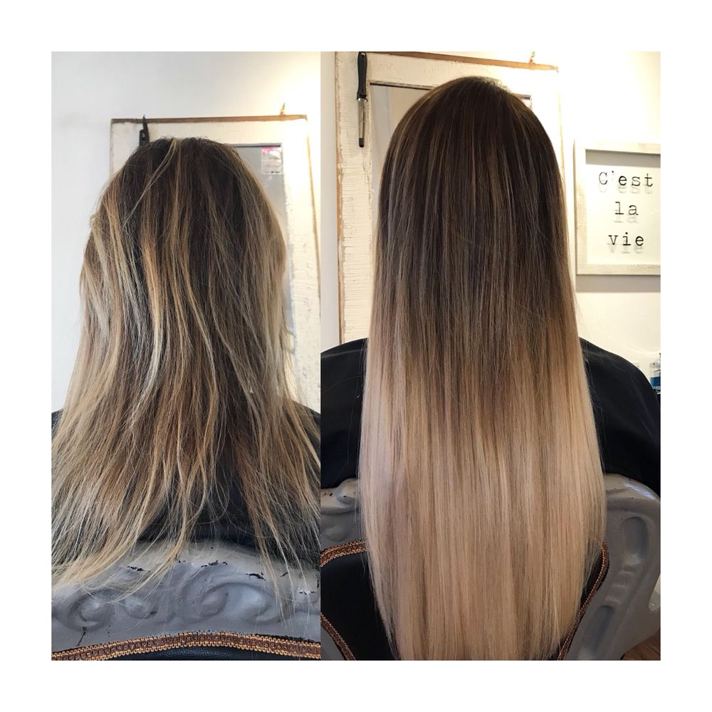 Color And Hair Extensions Before And After Photo Color Technique