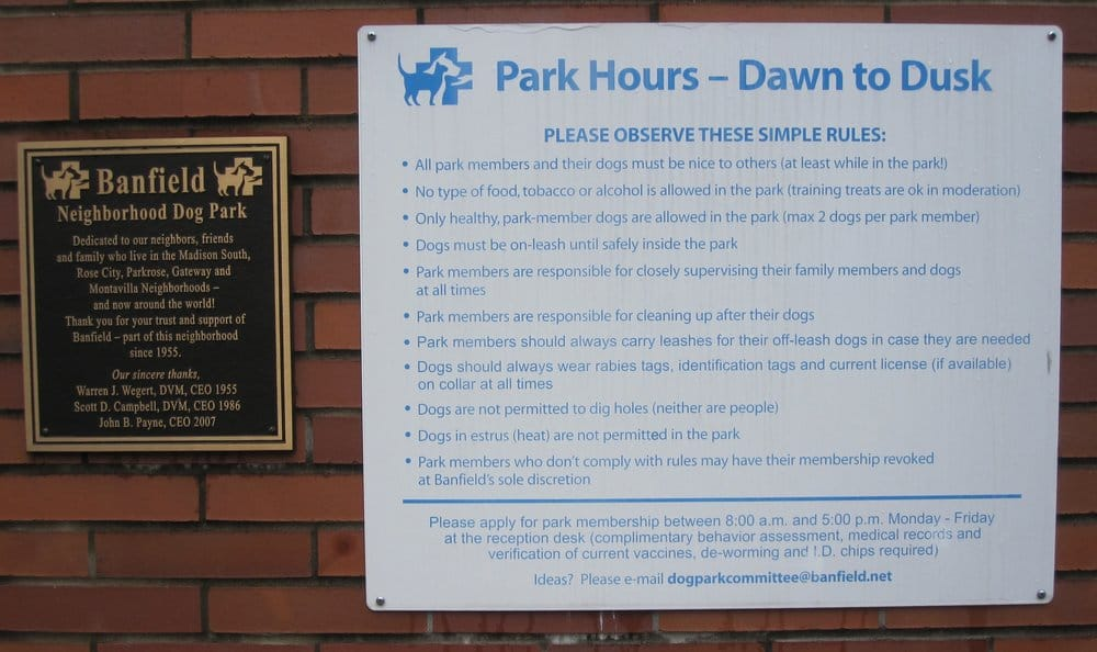 Portland Dog Park Rules