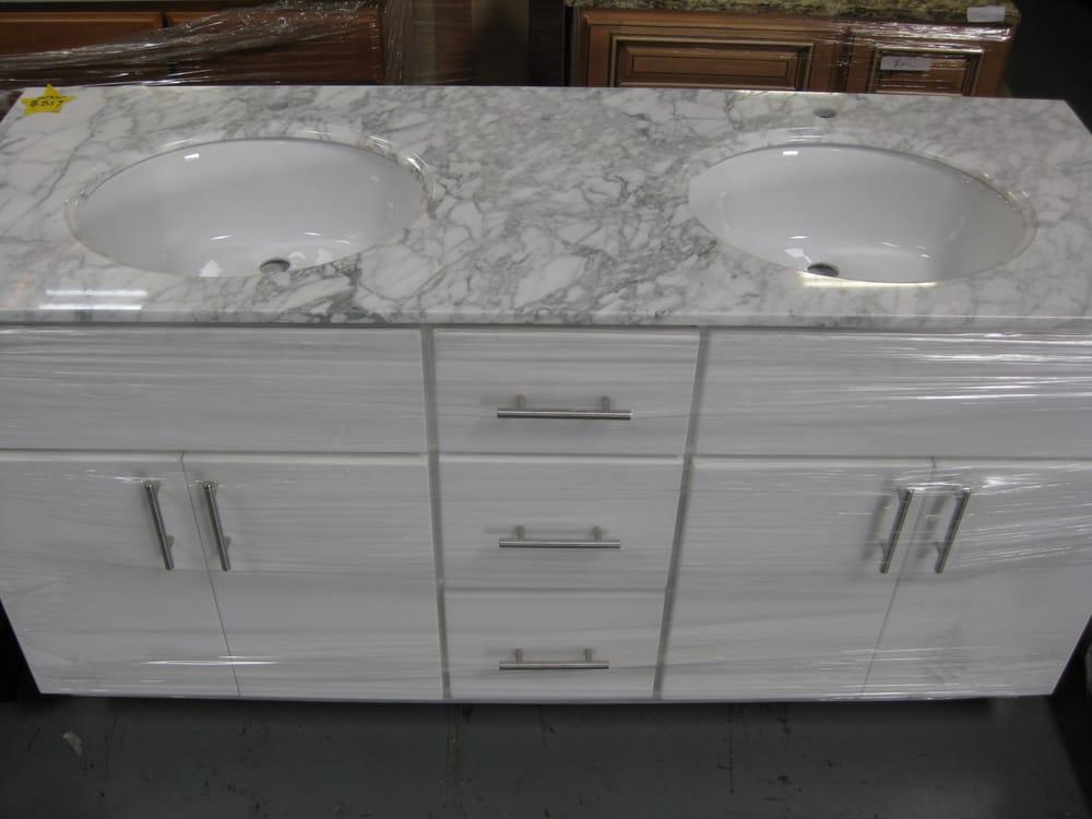 Bathroom Vanities Yelp 60''x21'' bathroom vanity $869 white thermofoil & white carrera - yelp
