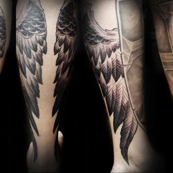 e542210961676 Photo of Black Raven Tattoo - Torrance, CA, United States. wings and shield